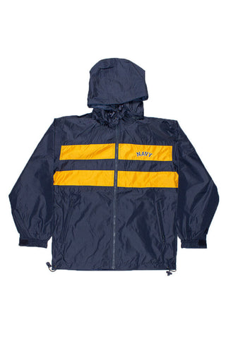 NAVY Stripe Windbreaker Jacket (navy/gold) - Annapolis Gear