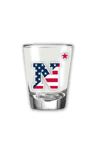 USNA USA Flag N-Star Shot Glass - Annapolis Gear