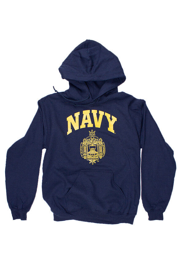USNA Crest Hooded Sweatshirt (navy) - Annapolis Gear