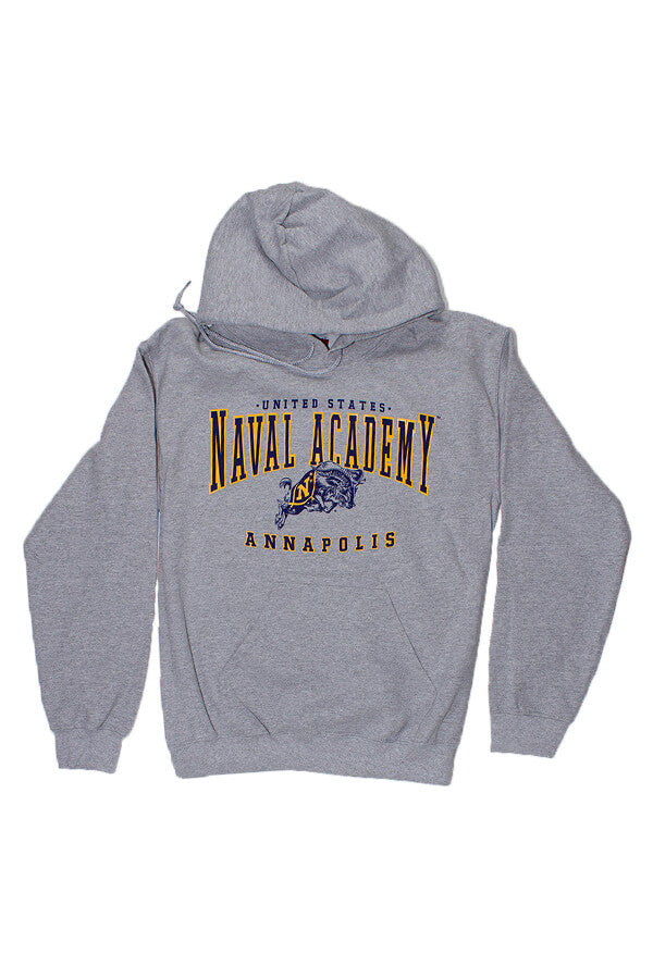 USNA Jumping Goat Annapolis Hooded Sweatshirt (grey) - Annapolis Gear