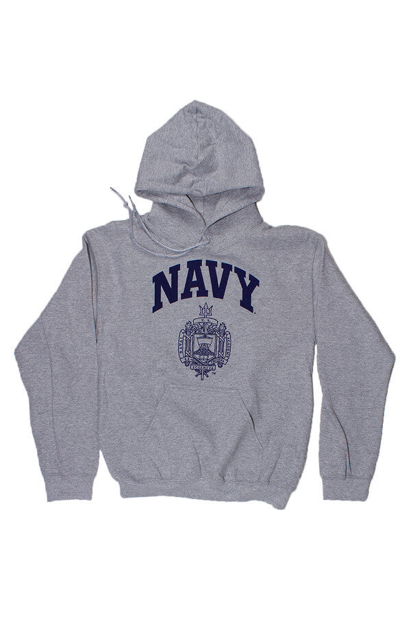 USNA Crest Hooded Sweatshirt (grey) - Annapolis Gear