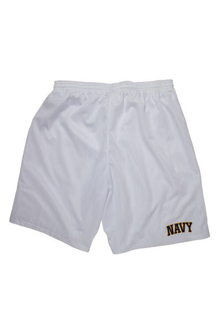 NAVY Mesh Shorts (white) - Annapolis Gear