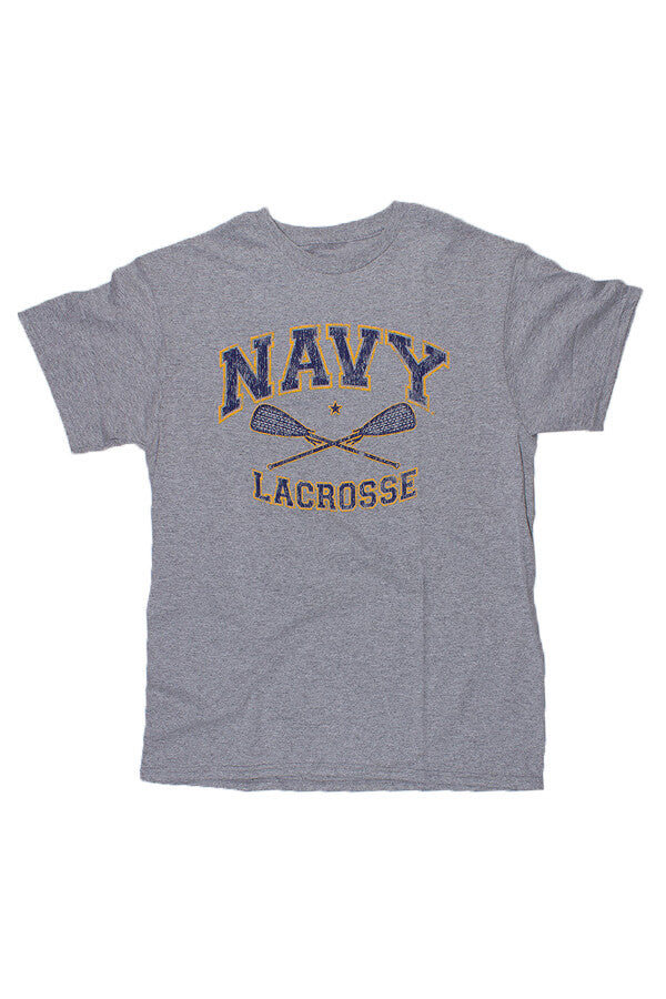 KIDS NAVY Lacrosse Distressed T-Shirt (grey) - Annapolis Gear