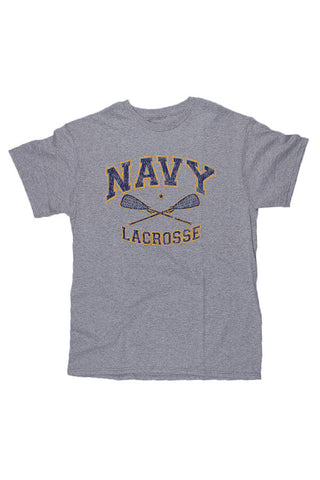 NAVY Lacrosse Distressed T-Shirt (grey) - Annapolis Gear