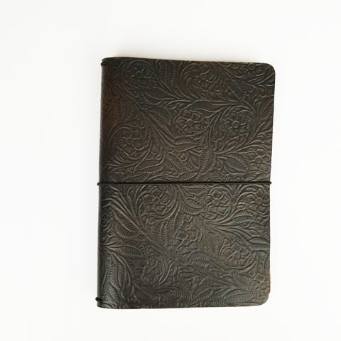 Black brown embossed wide