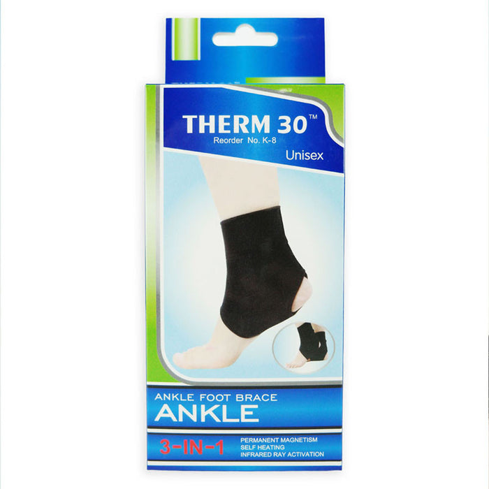 THERM30 Ankle Foot Brace Support 3-in-1 (Magnets, Infrared & Self Heating)