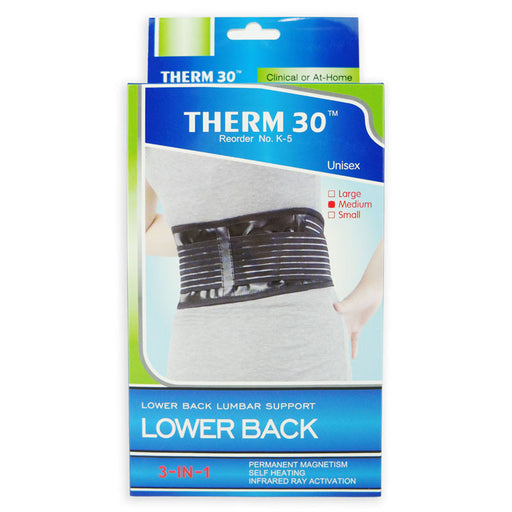 THERM30 - Lower Back Lumbar Support, 3-in-1 (Magnets, Infrared & Self Heating)
