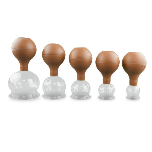 Glass Cupping Set with Rubber Bulb, 5 Pieces