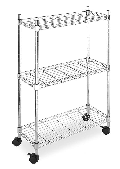 Chrome 3-Shelf Utility Cart with Wheels