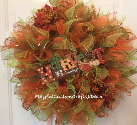 Harvest Blessing Wreath --  SOLD
