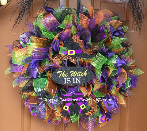 The Witch Is In Halloween Wreath SOLD