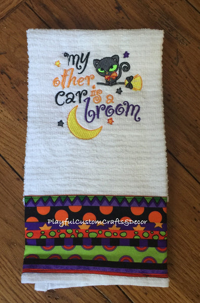 """My Other Car is a Broom"" Halloween Embroidered Bar Towel"