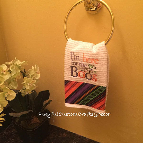 """I'm Here For the Boos"" Halloween Embroidered Bar Towel"