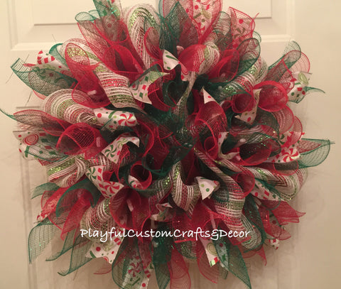 Red & Green Christmas Star Burst Wreath