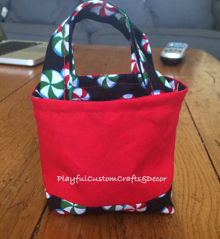 Red Peppermint Candy Tiny Tote
