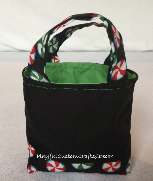 Green Embroidered Peppermint Candy Tiny Tote Bag
