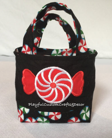Embroidered Red Peppermint Candy Tiny Tote