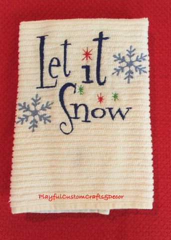 """Let It Snow"" Embroidered Bar Towel"
