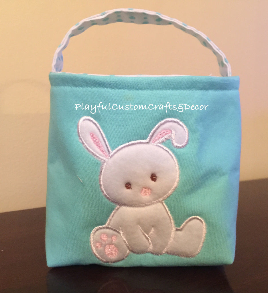 Small Blue Fabric Handmade Easter Basket