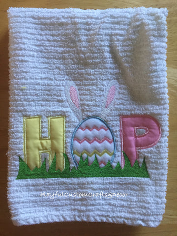 """Hop"" Embroidered Towel"