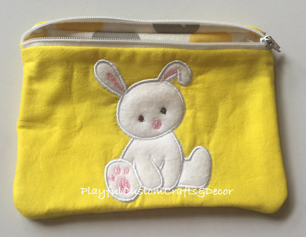 Yellow Easter Bunny Zipper Pouch