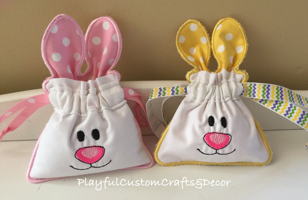 Set of Adorable Pink and Yellow Bunny Pouches