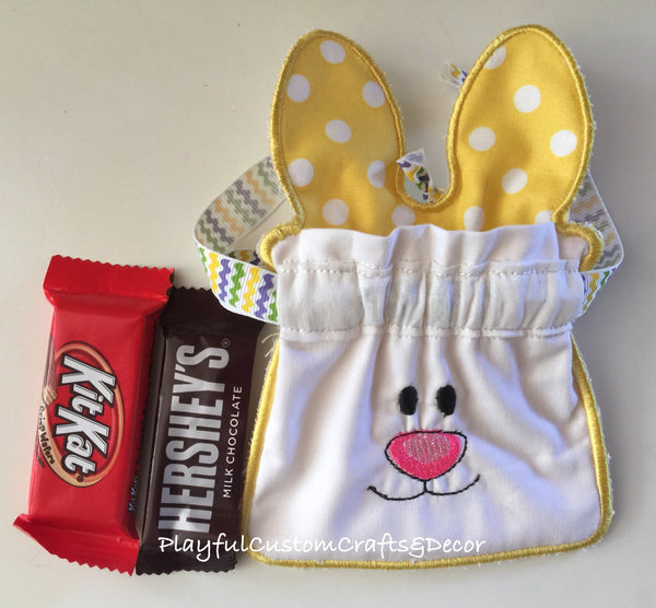 Set of Adorable Pink and Yellow Bunny Drawstring Bags