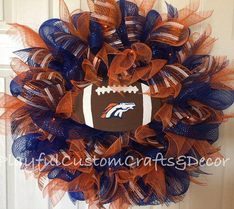 Denver Broncos Door Wreath with Orange Lights