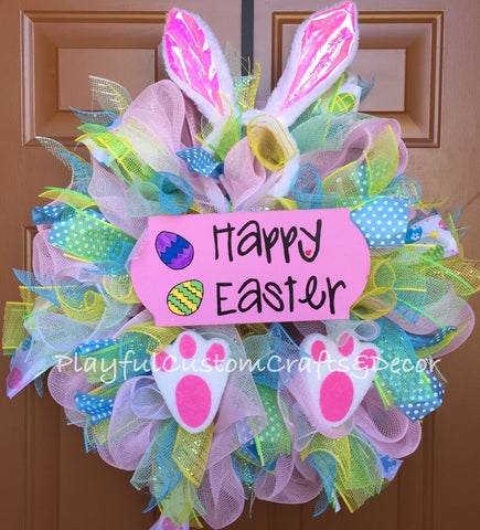 Happy Easter Bunny Wreath