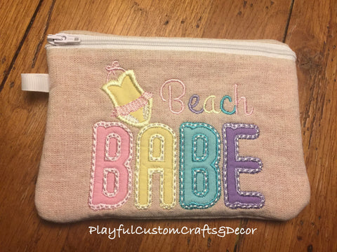 """Beach Babe"" Embroidered Lined Zipper Pouch"