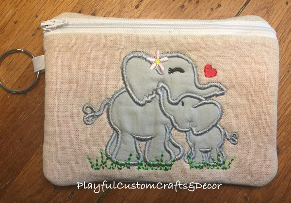 """Momma and Baby Elephant"" Appliquéd Lined Zipper Pouch"