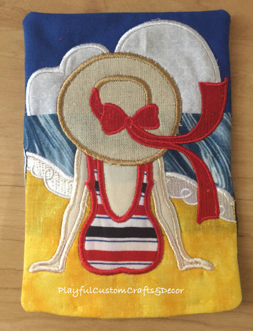 """Beach Lady"" Handmade Appliqué Mug Rug"