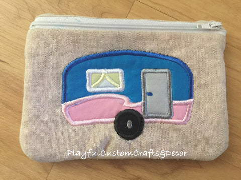 Blue & Pink Applique Camper Handmade Zipper Pouch