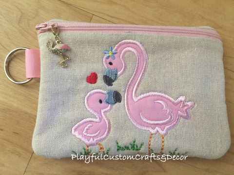 """Momma and Baby Flamingo"" Appliqué Lined Zipper Pouch"