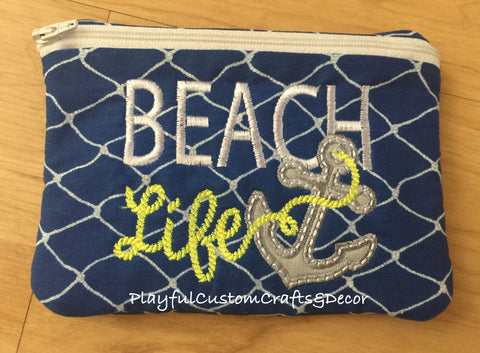 Blue Beach Life Handmade Appliqué Zipper Pouch