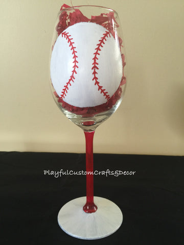 Hand Painted Baseball Wine Glass