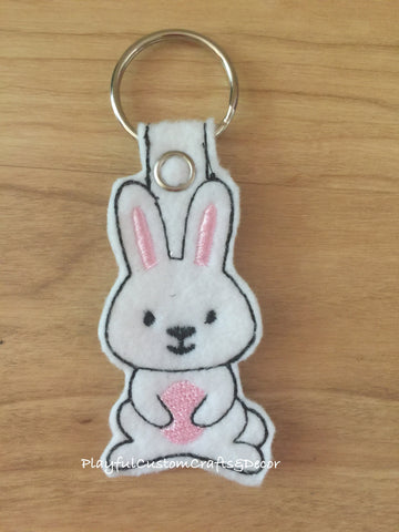 White Bunny Handmade Key Chain