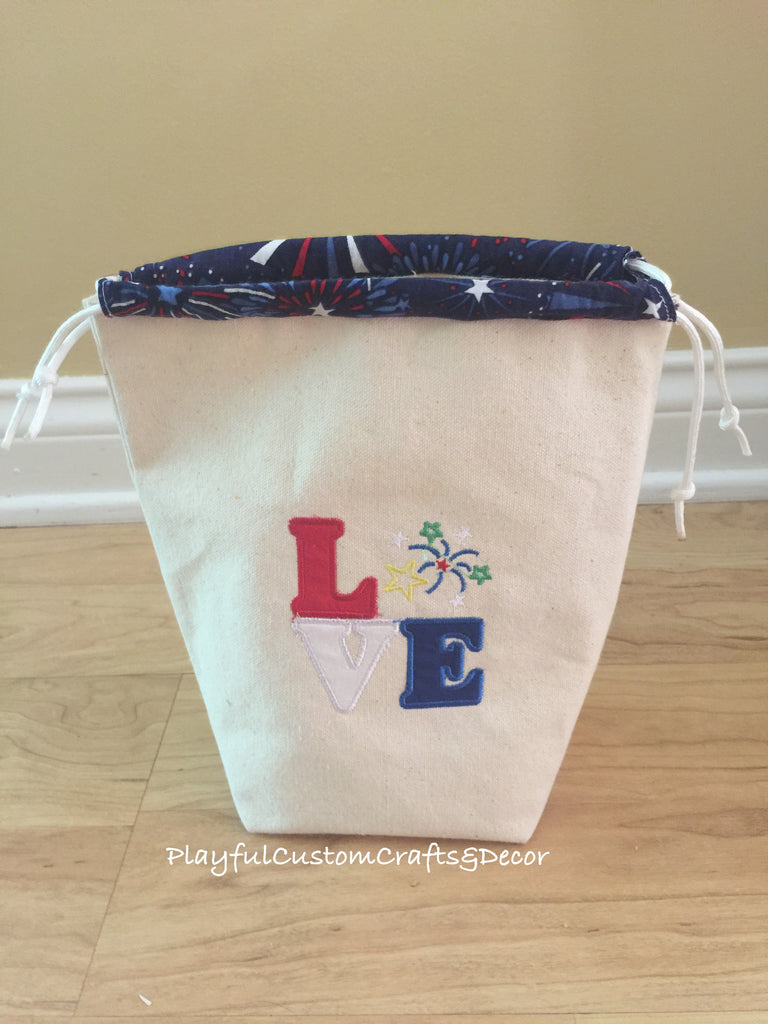 """Love"" Fireworks Appliqued Handmade Canvas Drawstring Bag"