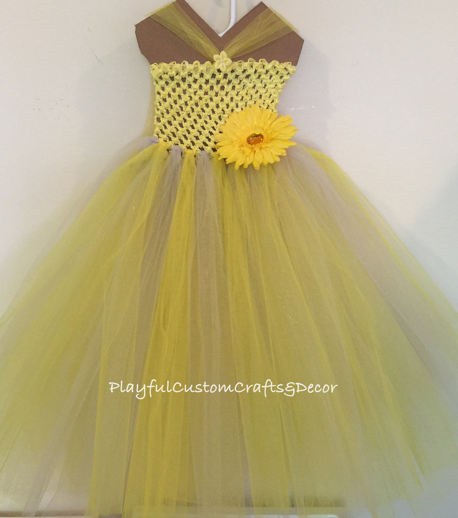 Yellow and Gray Tutu Dress