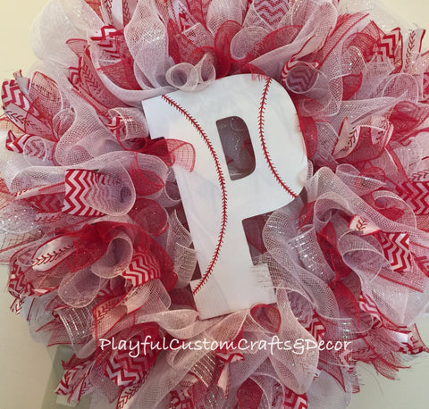 Monogram Baseball Wreath
