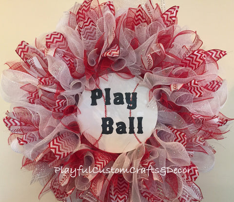 Play Ball Baseball Wreath