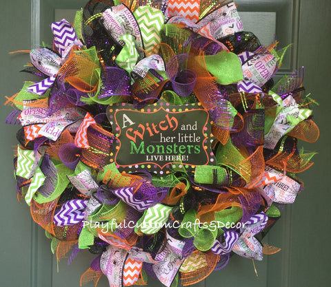 """ A Witch and Her Little Monsters Live Here""  Halloween Wreath"