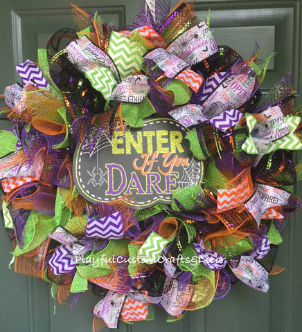 """Enter If You Dare""  Halloween Wreath"