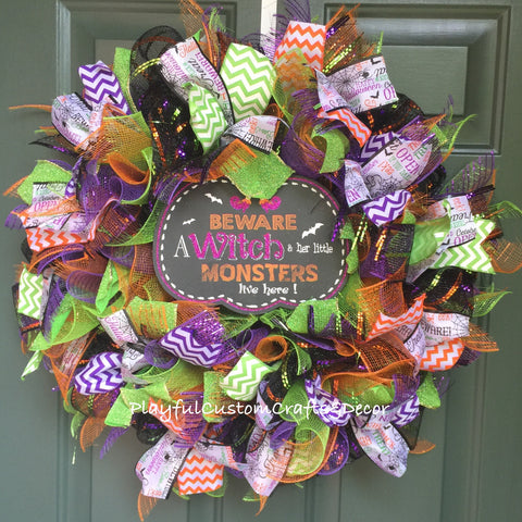 """Beware A Witch and Her Little Monsters Live Here""  Halloween Wreath"