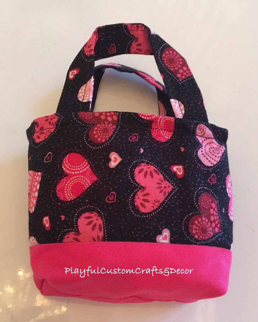 Hot Pink and Black Heart Valentine Tiny Tote