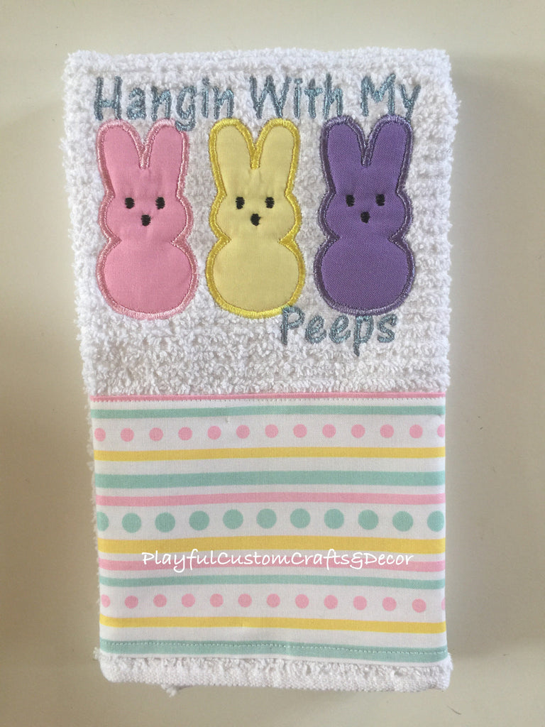 """Hanging with My Peep"" Embroidered Bar Towel"