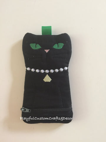 Black Cat Lined Zipper Pouch with Green Eyes