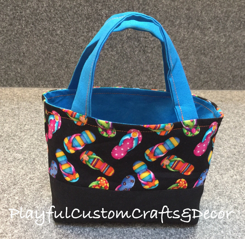 Blue & Black Flip Flop Small Tote