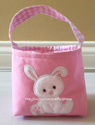 Adorable Pink Easter Basket w/Fleece Bunny Appliqué