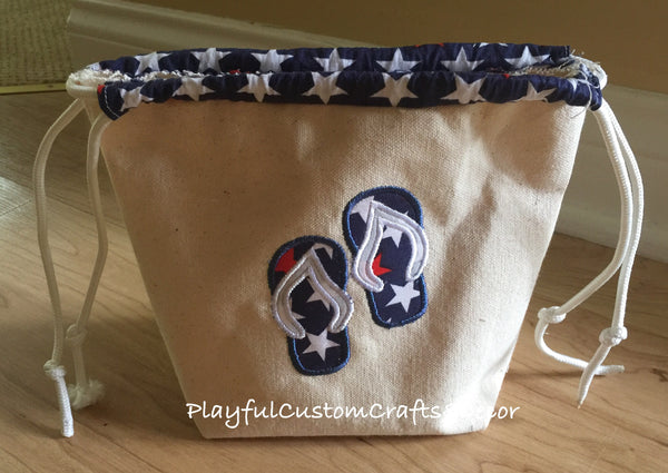 """4th of July"" Appliqué Flip Flops Drawstring Bag"